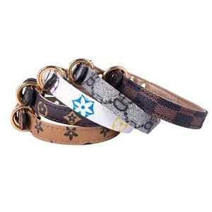 Padrão PU Leather Animais Coleiras ajustável Pet Cães Gatos trelas Outdoor Personalidade Bonito Pet coleira e guia Acessórios 5 cores ePacket