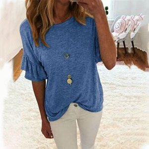 Women Short Sleeve Ruffles Blouses 2020 Fashion Tops Casual Loose Solid Summer Shirt Tunic Work Party Blusas Femininas Plus Size