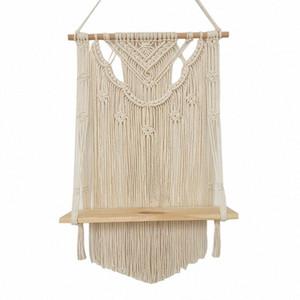 TOP Macrame Wall Hanging Scaffale, Livello singolo di legno galleggiante Hanging Shelf Organizzatore gancio, a mano Boho casa della decorazione della parete kQwJ #
