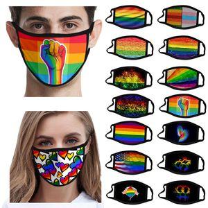 LGBT غاي 3D قناع تصميم قناع الوجه طباعة الألوان الغبار واقية من البوليستر الحرير الثلج نسيج قابل للغسل واقية قناع DHL السفينة WX20-39