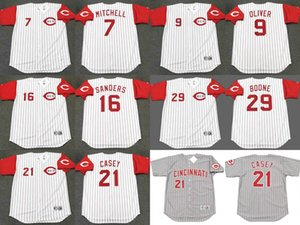 Cincinnati 7 Kevin Mitchell 9 JOE OLIVER 21 Sean Casey 29 BRETT BOONE Jersey 16 Reggie Sanders retroceso de béisbol cosida