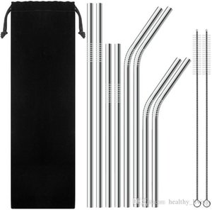 Reusable Metal Drinking Straws 304 Stainless Steel Sturdy Bent Straight Drinks Straw with Cleaning Brush Bar Party Accessory 09