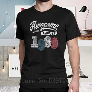 Man T Shirts Awesome Since August 1989 Shirt Vintage 29th Birthday T-Shirt Awesome Short Sleeves Tees Plus Size Clothes Cotton