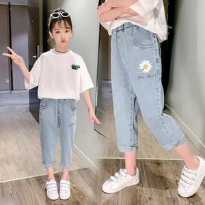 Lmglq Girls' summer wear medium large children's western style online celebrity Daisy shorts outdoor and jeans Shorts and jeans wear childre