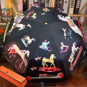 Солнечный и дождливой Новый зонтик ветрозащитный Модный зонтик Открытый Прогулка Повседневный Зонт Красочный Конные печати Зонтики
