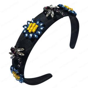 ins Dragonfly flower hair band female rhinestone wide edge hair accessories