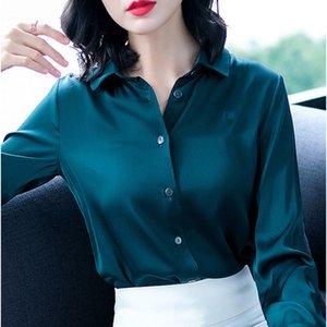 2020 Femmes Office Shirt Chemises Femme Élégant High Quality Silk Satin Bouton à manches longues Lady Blouse Tops Plus Taille 4XL K201