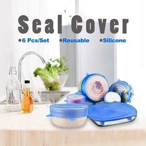 سيليكون تمتد مجموعة أغذية التفاف السلطانية وعاء الطازجة حفظ التفاف ختم الغلاف شفط اغطية مكملات مطابخ 6PCS / مجموعة DHE145