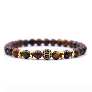 New Natural Stone Beaded Bracelet Charms Luxury CZ Paved Adjustable Bracelet For Men Women Yoga Jewelry