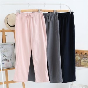 Autumn New style pure cotton gauze lovers leisure comfortable solid color pajamas men's and women's pajamas
