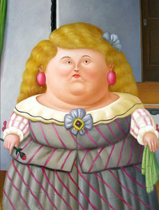 Fernando Botero menina gorda -3 Home Decor pintado à mão HD cópia da pintura a óleo sobre tela Wall Art Canvas Pictures 200206