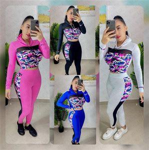 Frauen 2pcs Kleidung Set Anzug Tarnung Designer Outfit Mesh-Patchwork Pullover mit Kapuze Spitze Hosen Leggings Herbst Sport Sweatsuit D72811