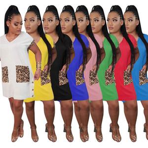 women designer dresses summer casual dress fashion print panelled dress one piece set women dress short sleeve dresses women clothes klw4410