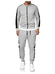 Diseñador del Mens se adapta a chándales rayó Zip ocasionales de los pantalones de manga larga de cuello largo superior Ropa para Hombre