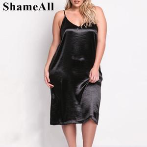 ShameAll Artı boyutu Kolsuz Derin V Yaka Saten Kayma Seksi Elbise Kadınlar pijama Orta Buzağı Elbise Parlak Akşam Partisi Siyah Elbise