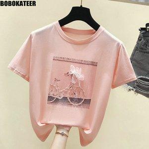 BOBOKATEER Moda T-shirt estate femminile delle parti superiori della camicia Kawaii Rosa Tee Shirt Femme White T vestiti delle donne 2019 Nuovo Camisas Mujer MX200721