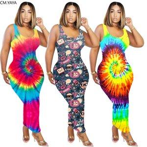 Women Dress Tie Dye Black Hole Cartoon Print O-neck Bodycon Midi Tank Maxi Dress Sexy Party Club Bandage Long Pencil Dresses