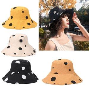 Women Summer Wide Brim Floppy Bucket Hat Vintage Polka Dot Cotton Fisherman Cap X7YA
