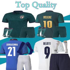 20 21 إيطاليا المنزل 3red بعيدا طقم + الجوارب الرجال لكرة القدم الفانيلة 2020 2021 منتخب إيطاليا بونوتشي متحرك INSIGNE كرة القدم جيرسي القميص الثالث