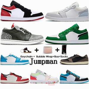 Nike Jordan 20ss con caja de calcetines Formadores 1s Baja París Negro del dedo del pie Cemento Travis Zapatos Scotts 1 de baloncesto del Mens zapatillas deportivas de las mujeres