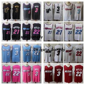 Mens 2020 MiaminbaCaloreThrowback maglie Dwyane Wade 3 Tyler 22 Butler epoca Città cucito maglia del pullover di pallacanestro della