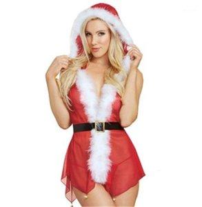 Pyjamas Womens Designer Christmas Dress Fashion V Neck Above Knee Length Sexy Underwear Womens See Through