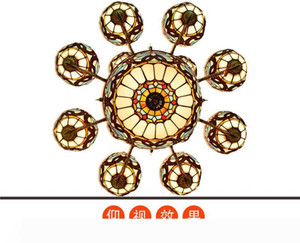 European retro creative Tiffany stained glass living room dining room double villa large chandelier love Baroque lamp TF009