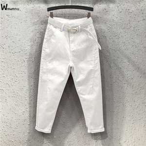 Fashion red loose Harem jeans female streetwear slim high waist Trousers Casual Ankle-Length denim cargo pants women