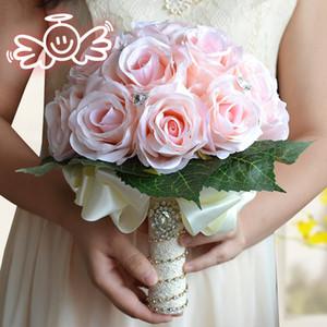 LoveGrace Ramo de novia Ramo de la boda artificial de la flor de Rose falso ramillete de flores Pink Party Prom Disfraces buque de Noiva