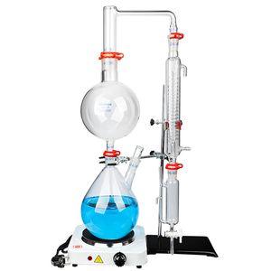 ZOIBKD 2L esencial Aparato de destilación de petróleo / Destilador de agua purificador con agitación magentic calefacción caliente Estufa y condensador