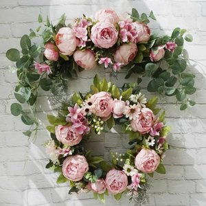 Artificial Peony Rose Door Flower DIY Wreath Lintel Table Window Flowers For Wedding Party Home Christmas Decorations T200624