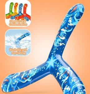 Tri Bladed Boomerang crianças ao ar livre Esporte Brinquedos coloridos Presentes Flying Saucer descompressão Retornando Dart macio brinquedos para meninos Crianças 05