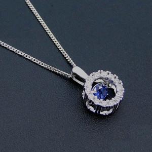 Man Fashion 925 Sterling Silver Jewelry Dancing Diamond Long sloshing heart Shaking Pendant Rhodium plating DR030864P Free Shipping