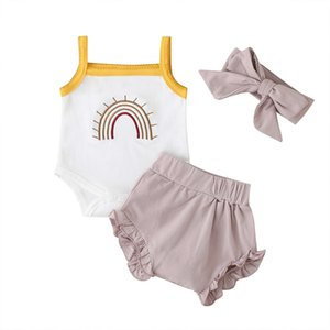 2020 New Baby Girls' TODDLER SUIT Hair band Suit Cotton Summer Children's Sleeveless Top And Shorts Headband 30