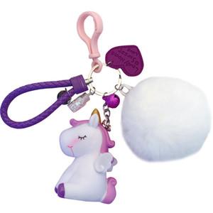 Korean cartoon the Unicorn key chain pendant girl heart male and female otter rabbit ball car key chain ring hanging ornaments