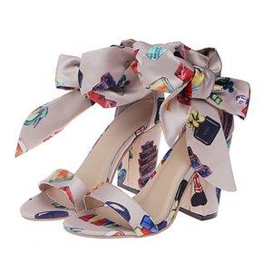 Summer Beach Boho цветочные Высокие каблуки сандалии женщин лодыжки ремень платформы Гладиатор обувь женщина Высокие каблуки Sandalias Mujer 2020