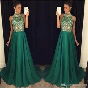 Bling Emerald Green Prom Dresses Long 2020 High Neck Crystal Beaded Formal Women Evening Gowns Sheer A Line chiffon Party Dress
