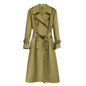 NEW autumn womens long trench coat Double Breasted Turn-down Collar Pockets Wide-waisted trench coat for women fashion