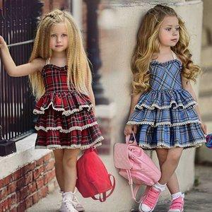 Abbigliamento per bambini abito canotta EACHIN ragazze vestiti nuovo plaid rosso Stampa Tutu Summer Party maniche principessa Dress bambino