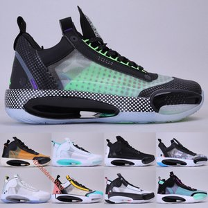 Jumpman 34 XXXIV Black Men Basketball Shoes 2020 Designer Green Bleached Coral Blue Void Amber Rise Snow Leopard CNY Sneakers Size 7-12