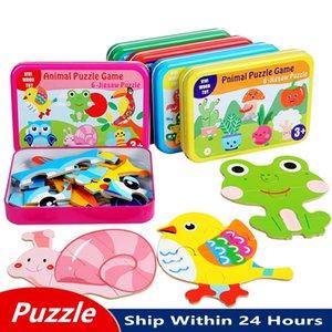 빠른 배송 철 상자 3D 나무 퍼즐 지그 소 퍼즐 교육 어린이 나무 퍼즐 어린이를위한 장난감 만화 동물 아기 학습 완구