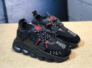 Versace casual shoes Cadeia Moda Sneakers para as Mulheres Homens Designer Preto MultiColor Suede Leopard Chainz manchado branco calçados casuais ao ar livre Tamanho 36-45