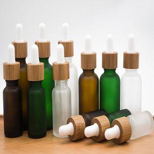 10ml 15ml 20ml 30ml bottiglia di vetro libera glassata contagocce con bambù coperchio Cap bottiglia di vetro olio Frosted verde EEA1817