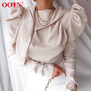 OOTN 2020 Spring Summer Womens Top And Blouses Elegant Black Satin Shirt Ladise Tops Bow Tie Collar Puff Sleeve Office Blouse Y200622