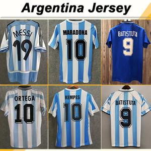 1978 Argentina Kempes Mens 축구 유니폼 1986 National Team Retro Maradona 1998 Batistuta Zanetti 2006 Messi Riquelme 홈 축구 셔츠