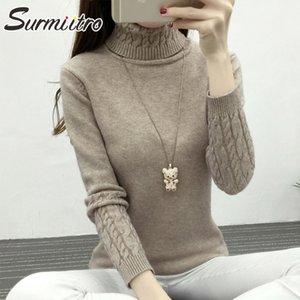 Surmiitro gestrickte Winter-Strickjacke Frauen Turtleneck 2019 Fashion Korean Langarm Cashmere Pullover Tricot Pullover weiblich Y200722