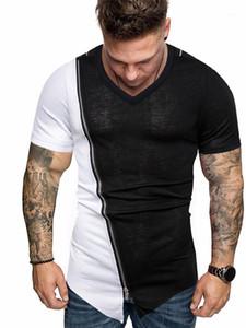 Camisetas Designer Man Zipper V-Neck Irregular Moda Casual Men High Street Tops Mens PU Patchwork Verão
