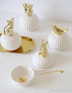 Cute Animal figurine jewelry box ceramic Statue storage bottles jar gift white box table decor crafts
