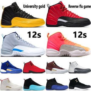 2020 nouvelles Jumpman 12 12s chaussures de basket-ball jeu de la grippe inverse irisé or université lever du soleil réfléchissant Bulls Fiba CNY sport Hommes Chaussures