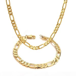 Jewelry Set Figaro Chain Necklace Bracelet Solid Statement 18K Yellow Gold Filled Massive Womens Mens Classic Fashion Gift
